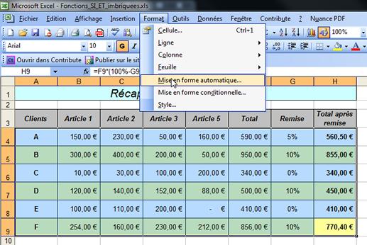Excel Mise En Forme Automatique