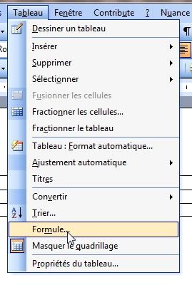Word Calculs Dans Les Tableaux